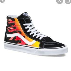 Vans high top flame fire skate sneakers